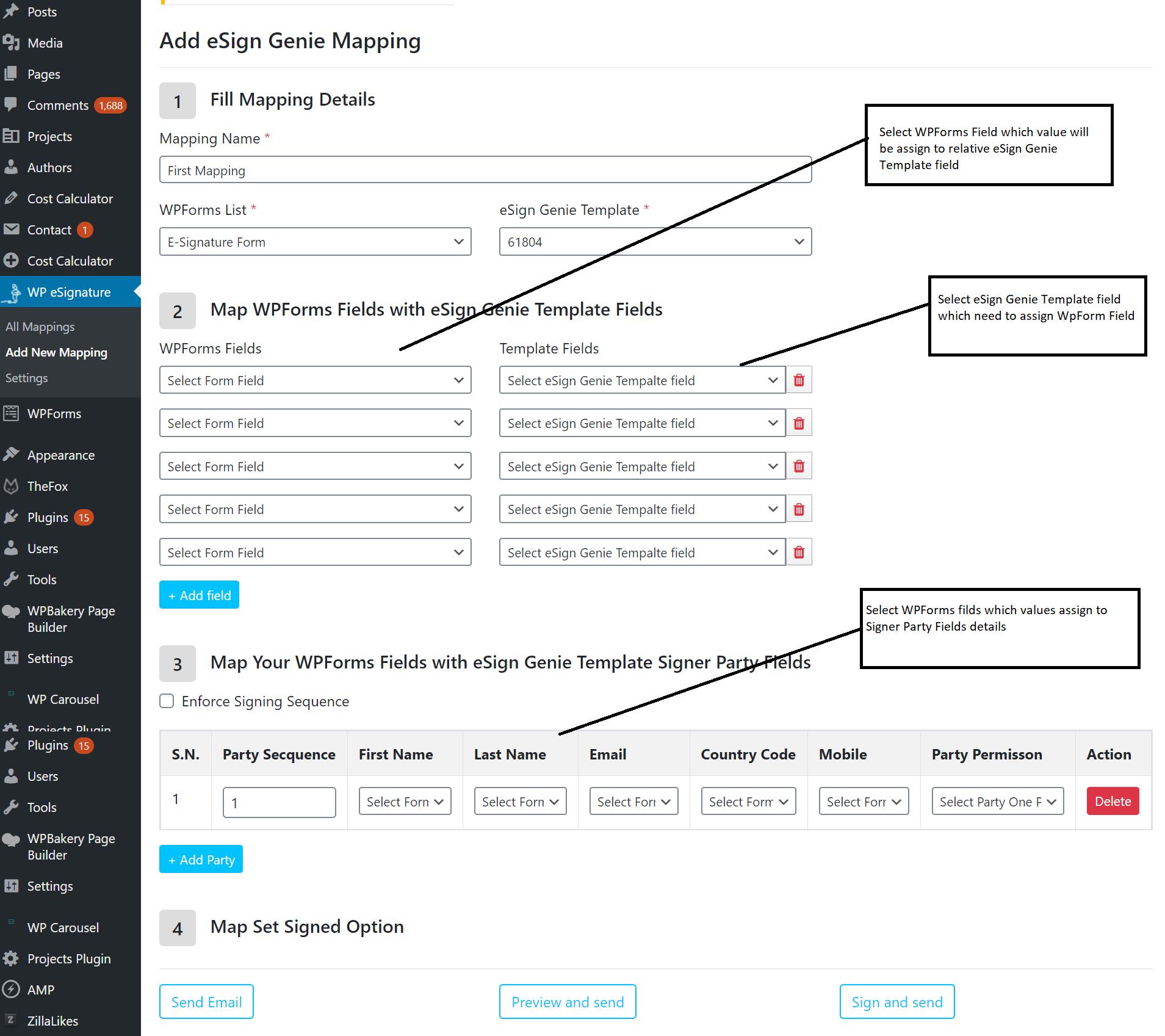 Screenshot displaying template fields in WPforms