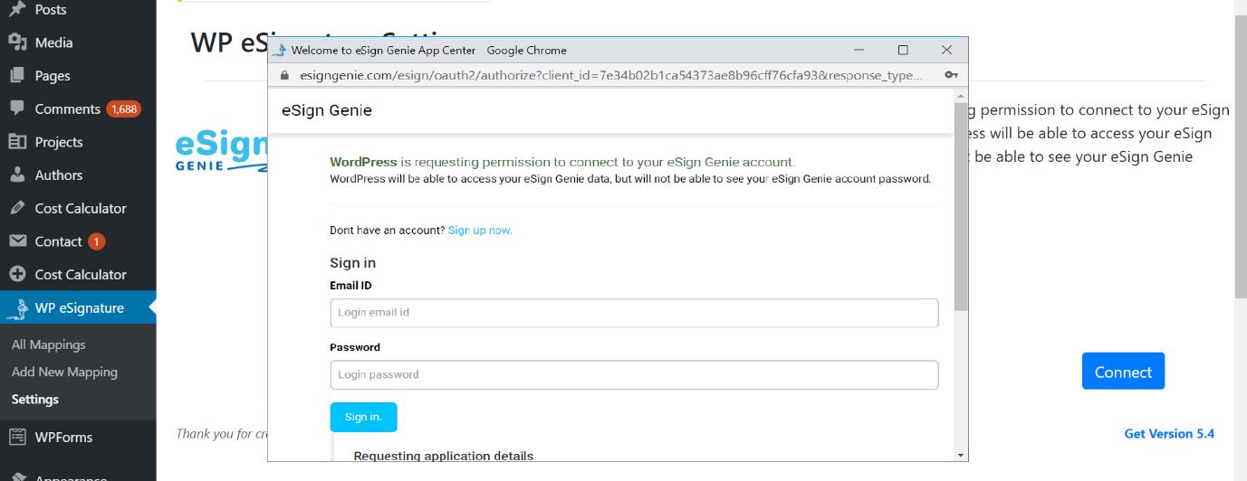 Screenshot displaying connection permission requiring login
