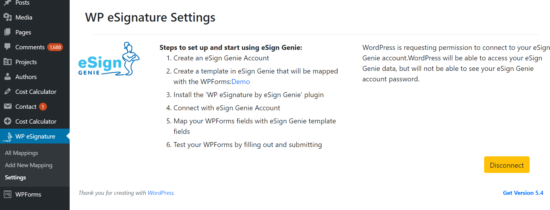 Screenshot displaying WP eSignature settings page
