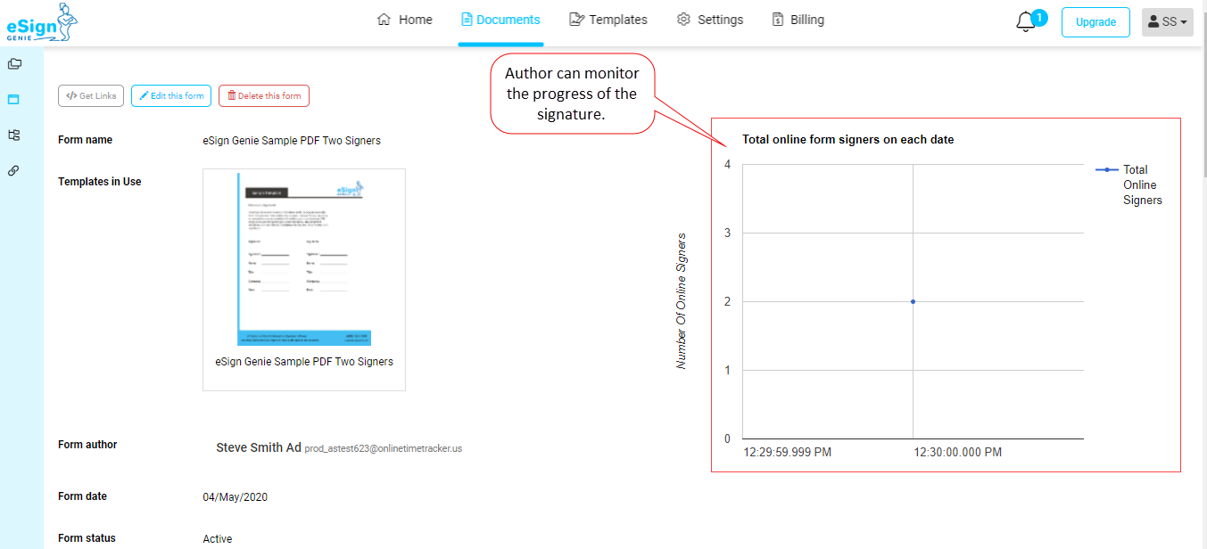 Screenshot displaying author monitoring option of signature process