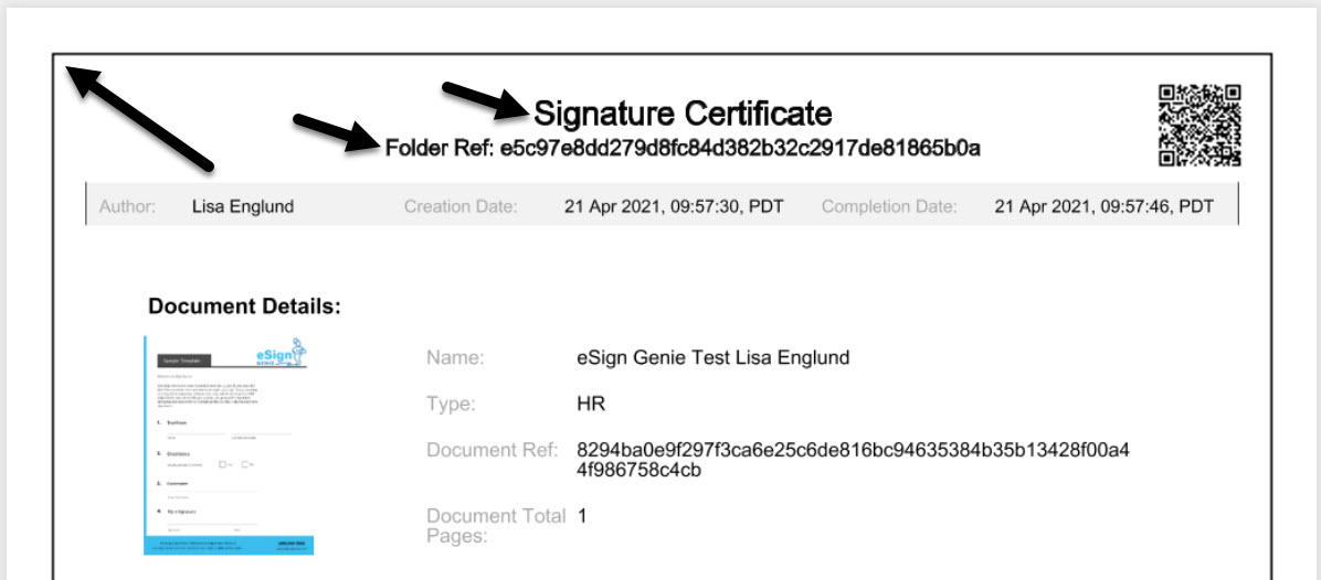 Screenshot displaying the signature certificate color