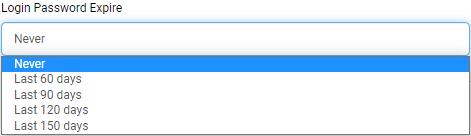 Screenshot displaying the new password expiration option