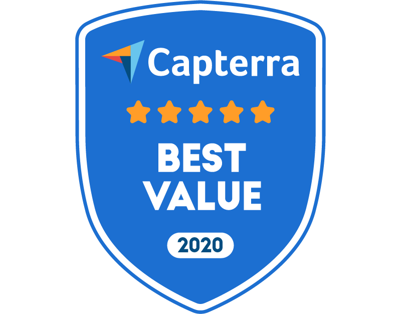 Badge awarding eSign Genie with Capterra Best Value for 2020