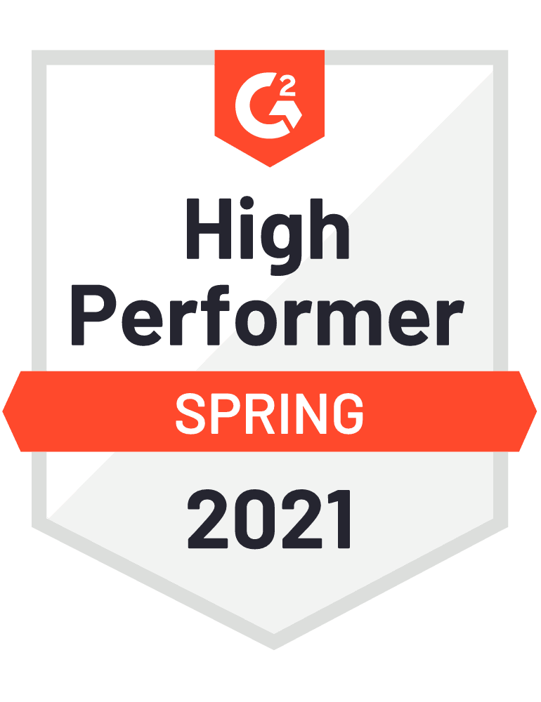 Badge awarding eSign Genie with G2 High Performer for Spring of 2021