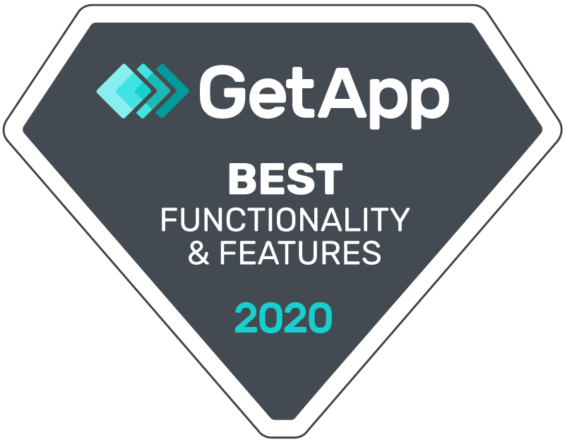 Badge awarding eSign Genie with GetApp Best Functionality & Features of 2020