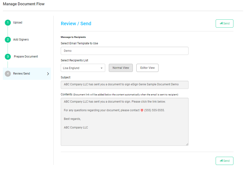 Screenshot displaying the step 4, review/send, of the guided document process