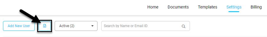 Screenshot displaying where a bulk user spreadsheet can be uploaded